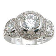 Plutus Partners Plutus Rhodium Finish Sterling Silver 3 TCW Cubic Zirconia Antique Wedding-style Ring Size,Theme