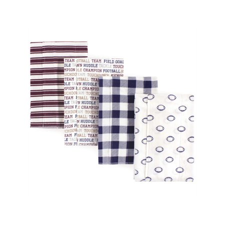 Hudson Baby Boy and Girl Flannel Burp Cloths, 4-Pack, Football