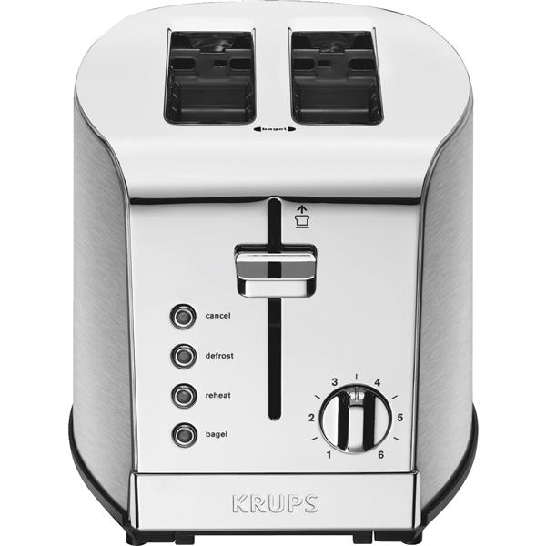 2-slice Breakfast Set Toaster with Brushed Chrome and Stainless Steel by Krups