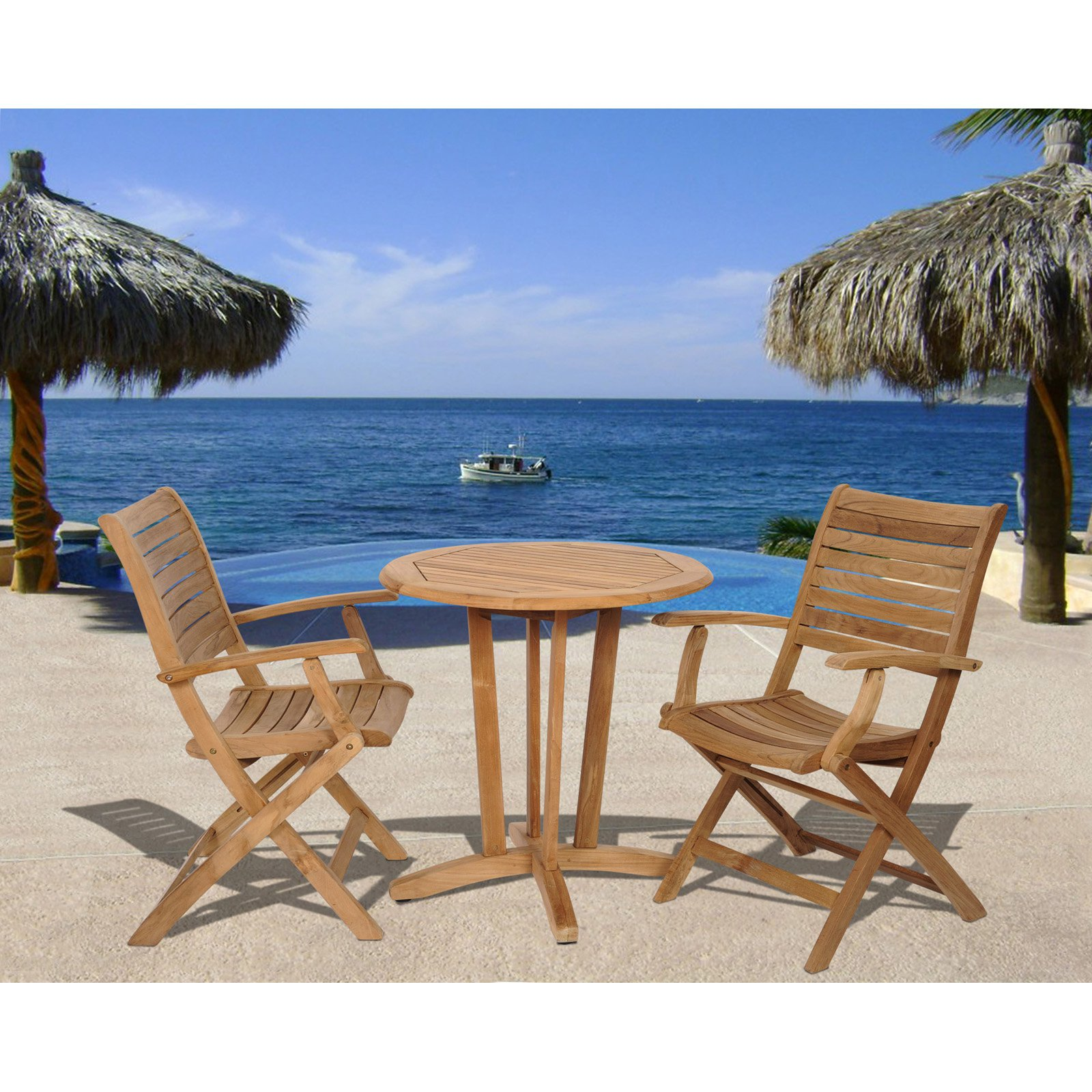 Amazonia Olympia 3 Piece Teak Round Patio Dining Set