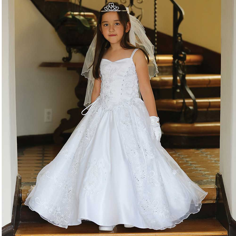 Angels Garment White Satin Lady Guadalupe Communion Dress Girl 7-18