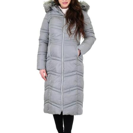 Jessica Simpson Womens Faux Fur Winter Puffer Coat Outer Edge Winter Coat