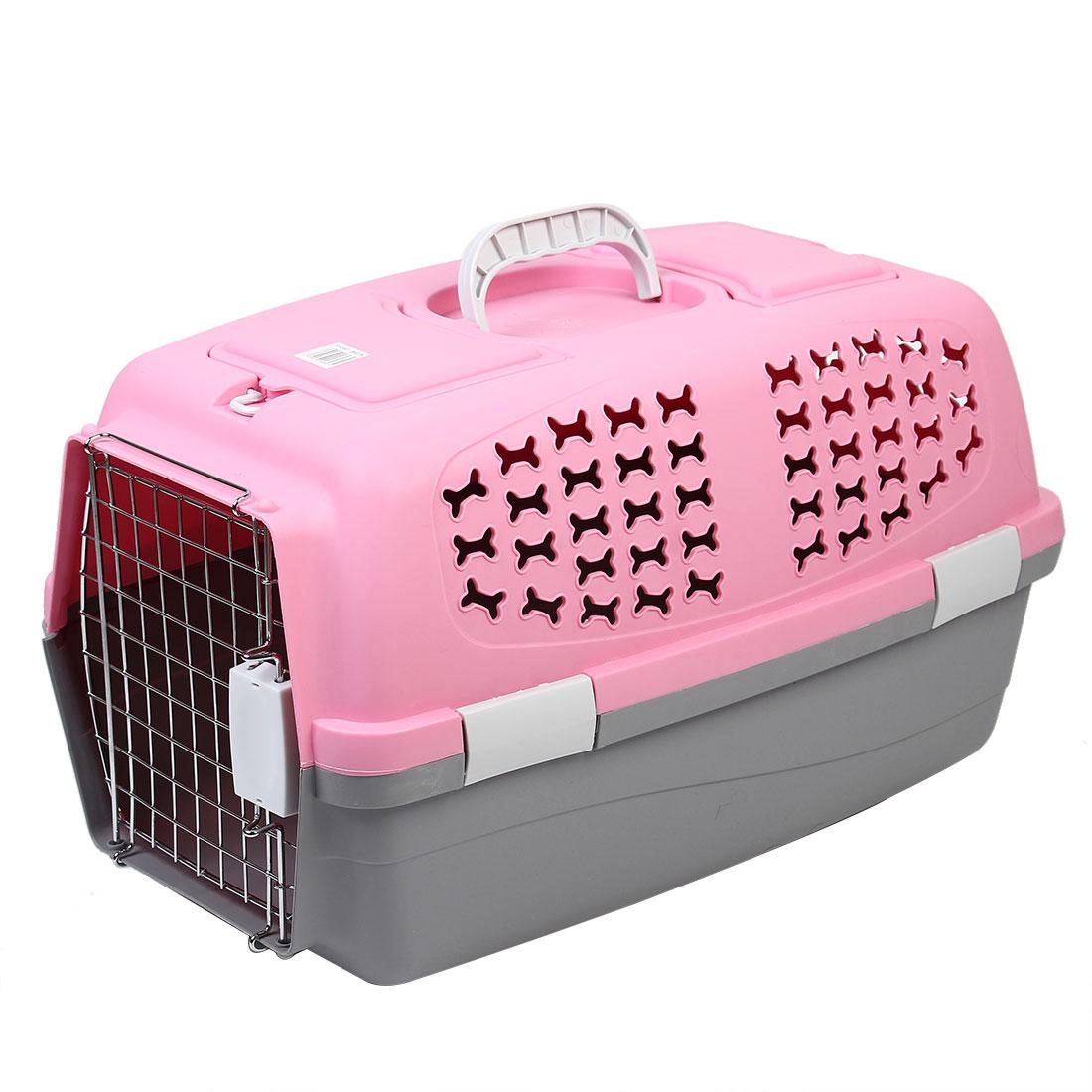 Travel Portable Plastic Transport Cages Airways Box Pet Carrier Pink 54x35x35cm
