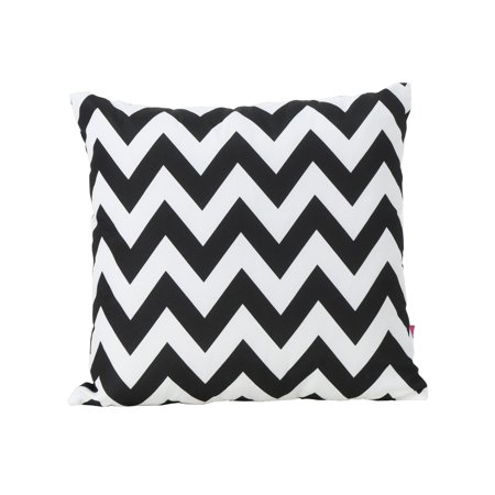 Embry Outdoor Water Resistant Square Throw Pillow Black And White Chevron