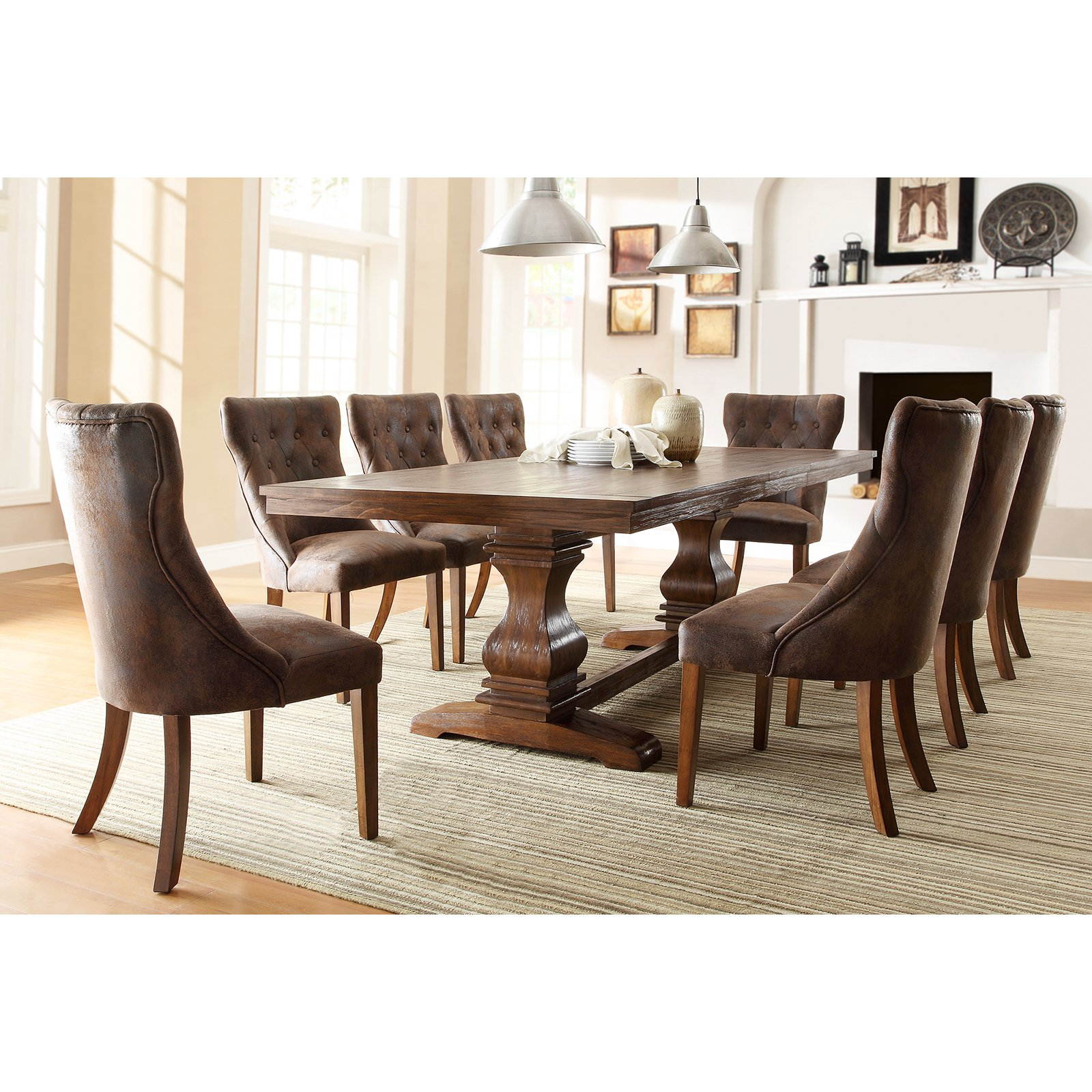 Weston Home Marie Louise 9 Piece Expandable Trestle Dining Table Set    Weathered Oak   Walmart.com