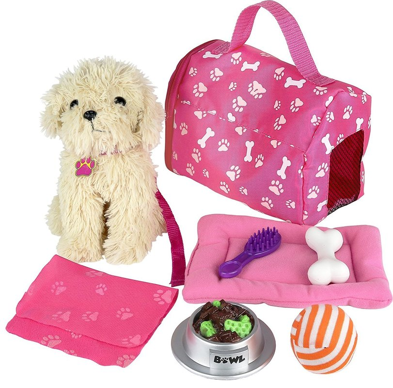 Click n' Play 9 piece Doll Puppy Set and Accessories. Perfect For 18 inch American Girl Dolls by