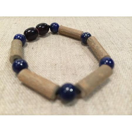 Blue Lapis Lazuli 5.5 or 6.5 Inch Hazelwood Bracelet (GERD, Colic, Eczema) Baby Infant. Lapis for stress anxiety ADHD