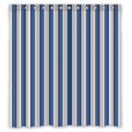 HelloDecor Navy Blue And White Vertical Stripe Shower Curtain Polyester Fabric Bathroom Decorative Size 66x72 Inches