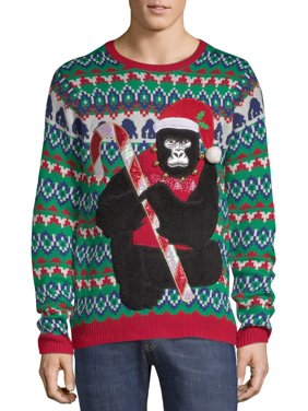 Holiday Time Men's Gorilla Ugly Christmas Sweater