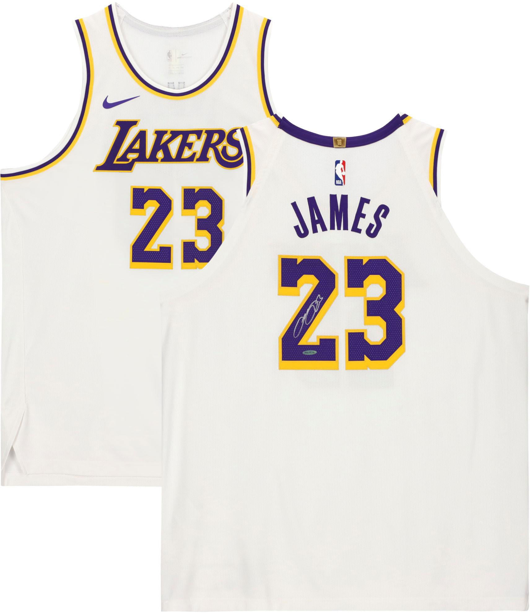 LeBron James Los Angeles Lakers Autographed White Jersey - Upper ...