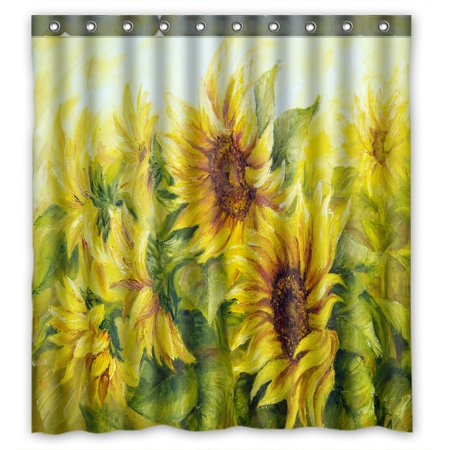 PHFZK Oil Painting Shower Curtain, Sunny Nature Art Sunflower Sunflowers Landscape Yellow Polyester Fabric Bathroom Shower Curtain 66x72 inches ()