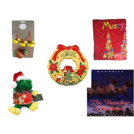 Christmas Fun Gift Bundle [5 Piece] - Martha Stewart Woodland  Set of 4 Duck Ornaments - Merry  Door Mat  17.5