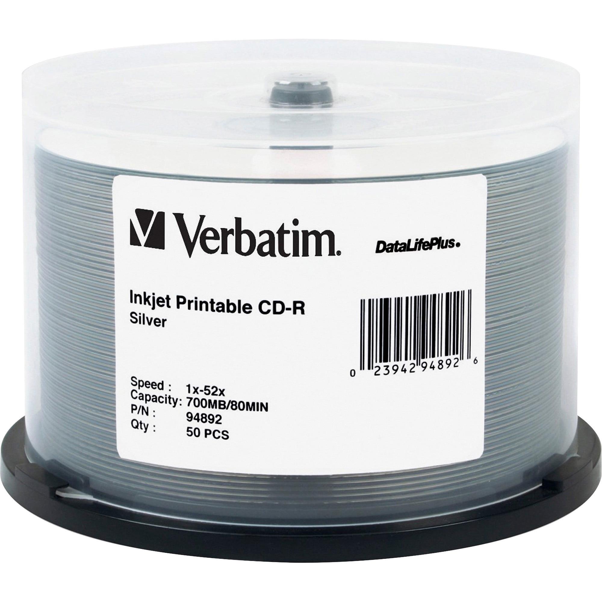 Verbatim, VER94892, Silver Inkjet Printable CD-R Spindle, 50, Silver
