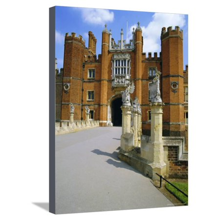 The Queen's Beasts on the Bridge Leading to Hampton Court Palace, Hampton Court, London, England Stretched Canvas Print Wall Art By Walter