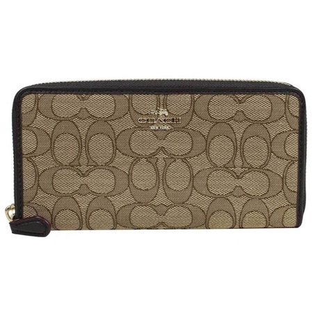 Coach F54633 Accordion Zip Wallet In Outline Signature Brown