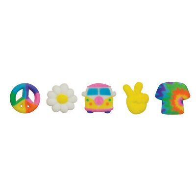 Peace Signs, Tie Dye Shirt, Van, Daisy Edible Sugar Decorations 12 Count - 50800 - National Cake Supply
