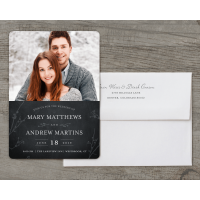 Personalized Wedding Invitation - Rustic Woodgrain - 5 x 7 Flat Deluxe