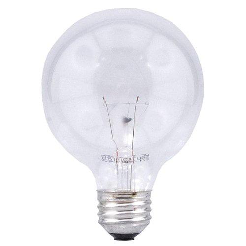 Sylvania Double Life 25W Globe Light Bulbs, Clear, 3-Pack