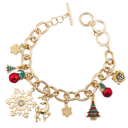 Lux Accessories Goldtone Christmas Xmas Tree Snowflake Bell Santa Charm Bracelet