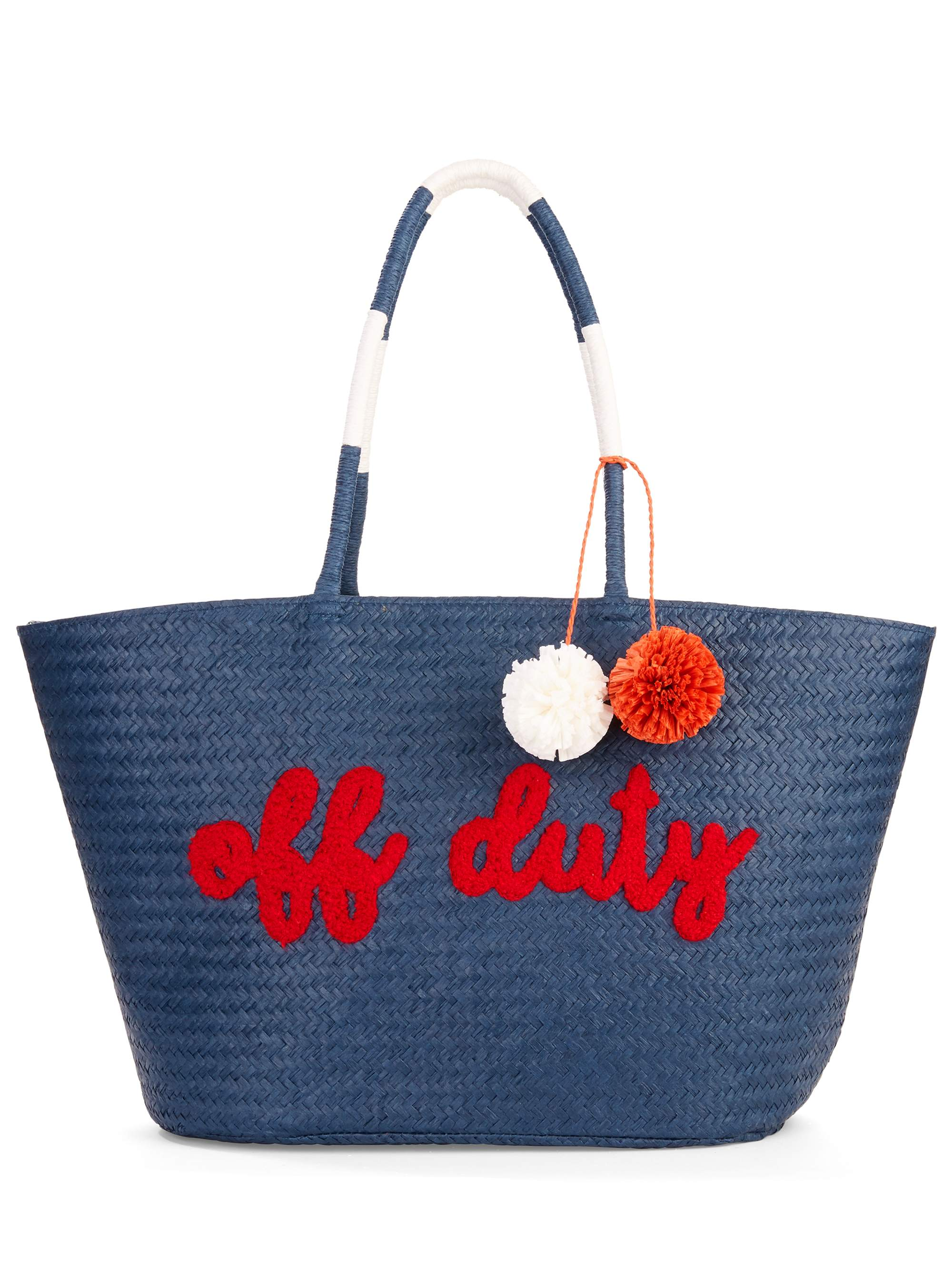 "Time & Tru Navy ""Off-Duty"" Large Straw Tote"