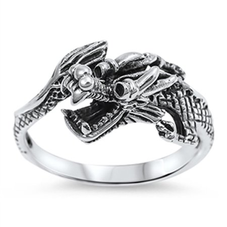 Chinese Dragon Good Luck Fashion Ring New .925 Sterling Silver Band Size 12 Tibetan Silver Dragon Ring