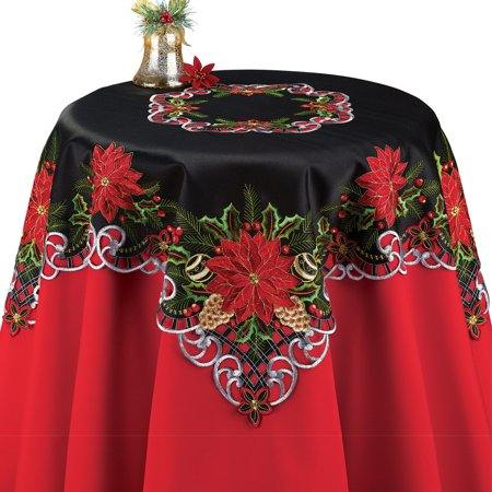 Embroidered  Black Poinsettia Pinecone Christmas Table Runner/Topper Linens, Festive Indoor Decor, (Christmas Linens Table Decor)