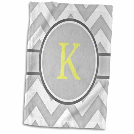 3D Rose Grey and White Chevron with Yellow Monogram Initial K Hand Towel 15 x 22