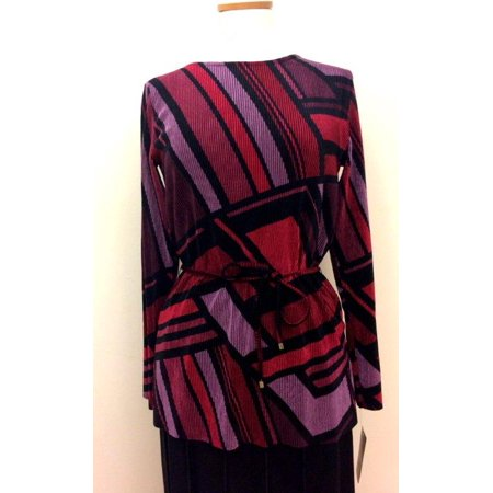 Wine, Black And Purple Geometric Print Scoop Neck Tunic With Self Belt, Velour Ribbed Fabric (Style# 29301)