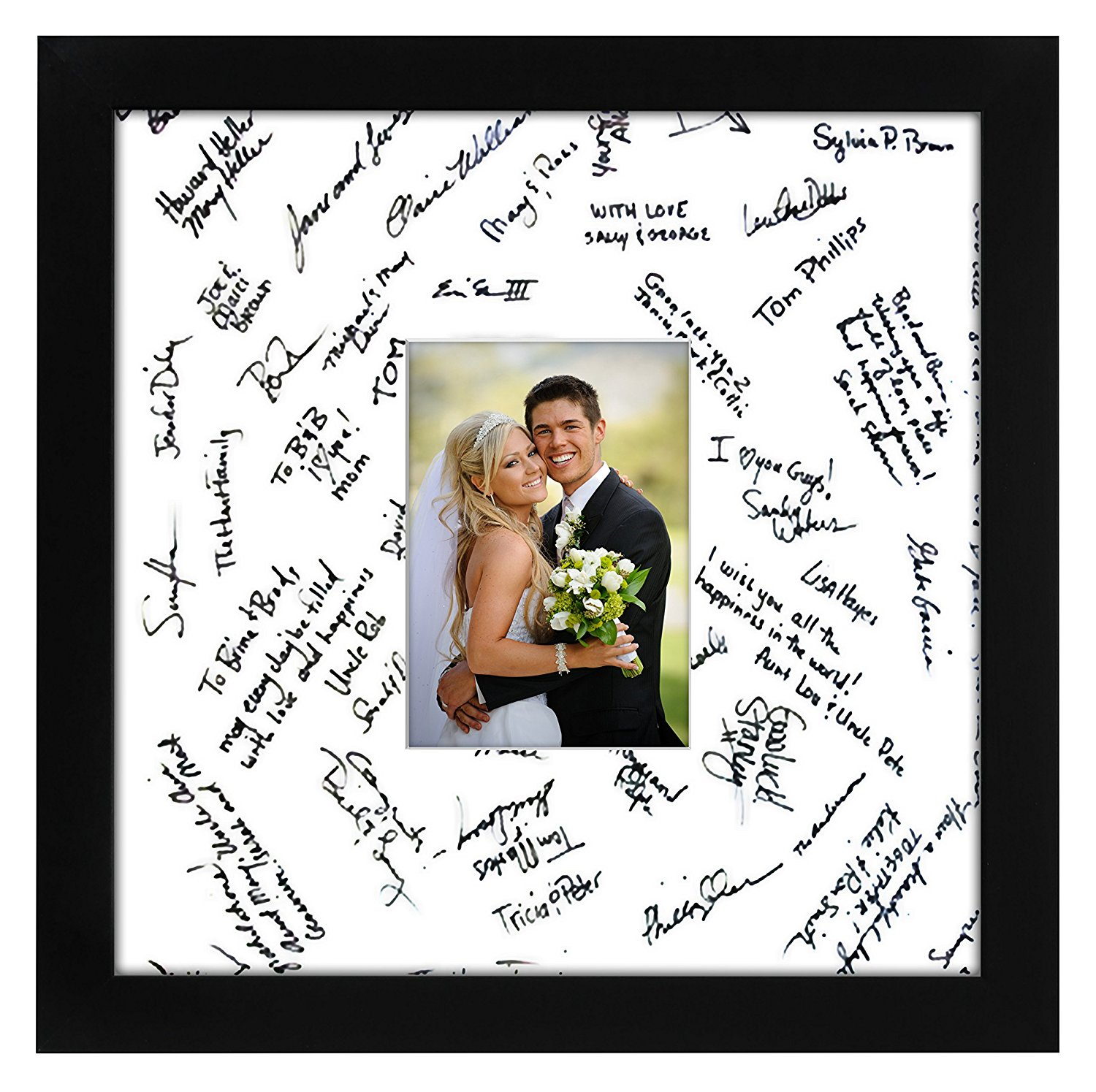 14x14 Black Wedding Picture Frame Matted to Fit Pictures 5x7 Inches or 14x14 Without Mat... by Americanflat