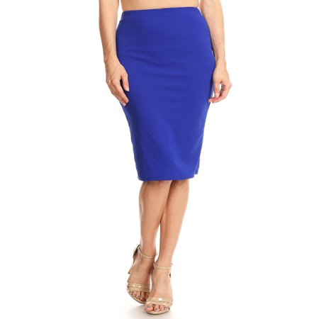 - MOA COLLECTION Women's Solid Basic Casual Sexy Knee High Waist Pencil Skirt/Made in USA