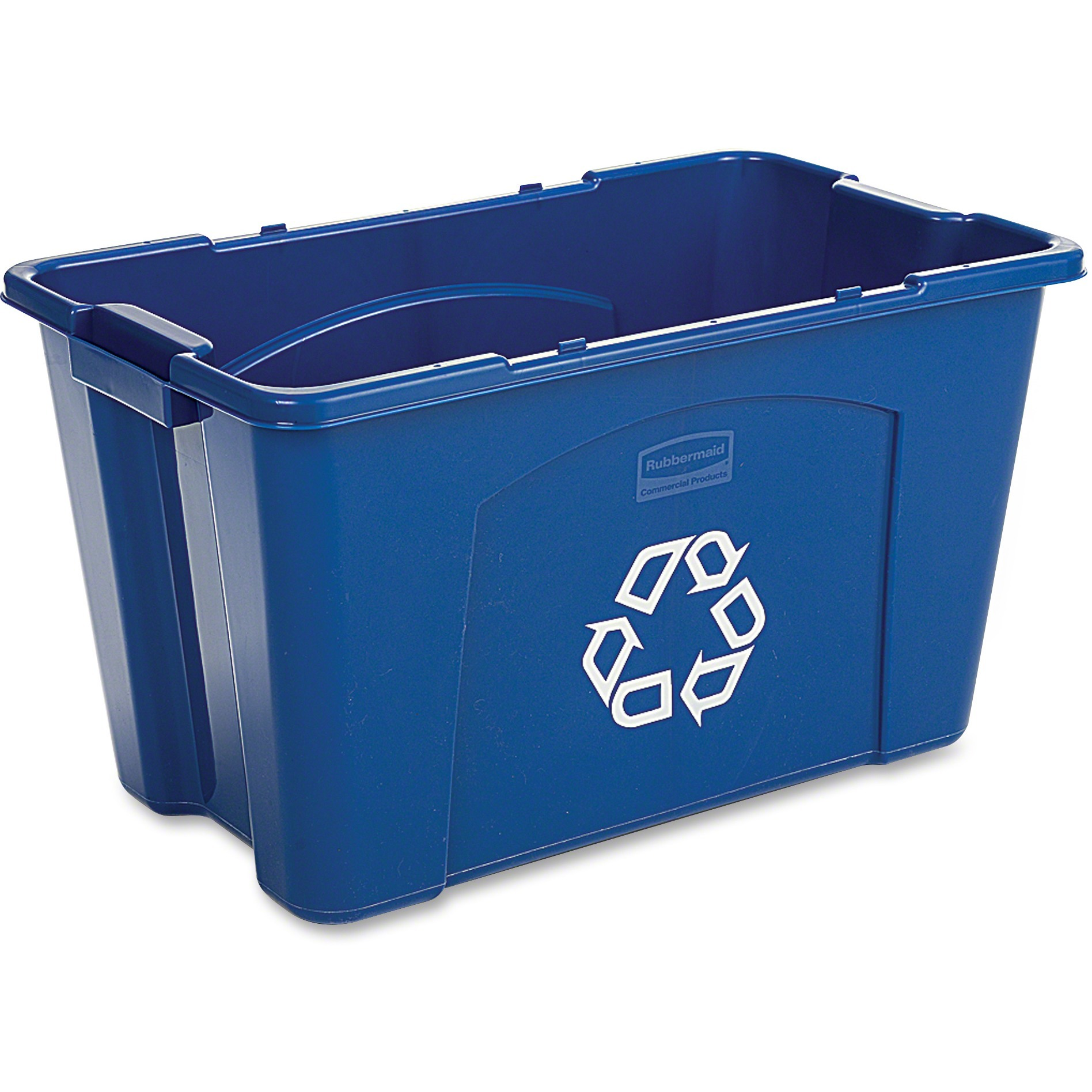 Rubbermaid Commercial Products FG571873BLUE Stackable Recycling Bin, 18 Gallon, Blue