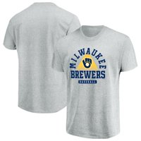 Men's Majestic Gray Milwaukee Brewers Beam Me Up T-Shirt