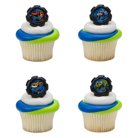 24 Blaze And The Monster Machines Wheels Cupcake Cake Rings Birthday Party Favors Toppers. - Monster High Birthday Theme