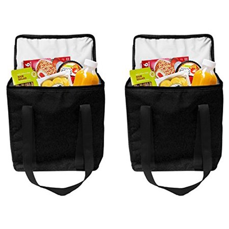 Earthwise Reusable Insulated Grocery Bags Heavy Duty Nylon Thermal Cooler Tote WATERPROOF In all Black w/ZIPPER Closure KEEPS FOOD HOT OR COLD (2