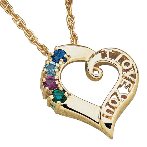 "Personalized Mother's 14kt Gold-Plated ""I Love You"" Birthstone Pendant, 20"""