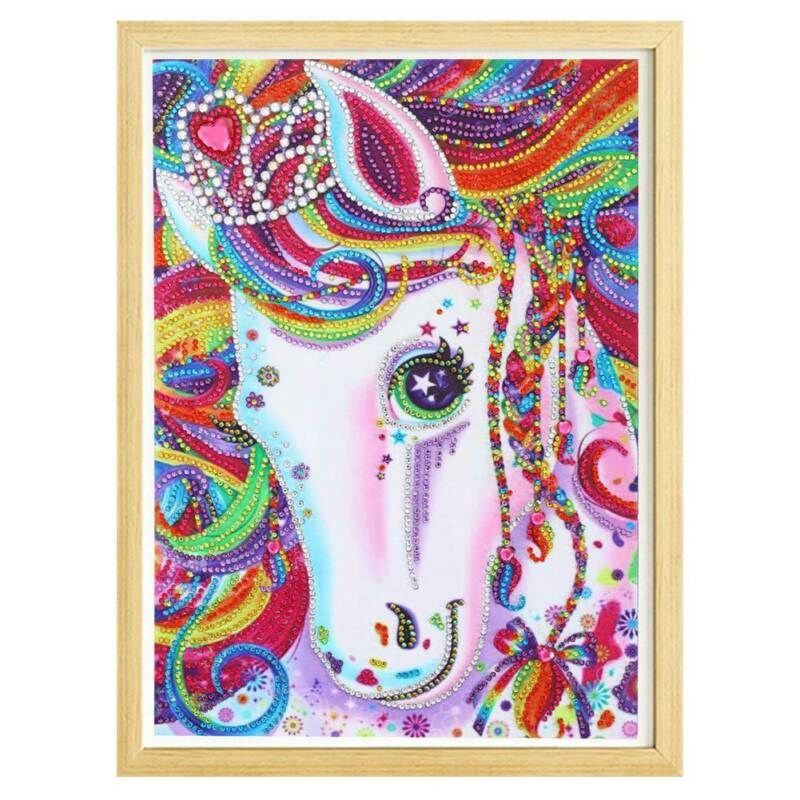 Full Drill Rainbow Unicorn 5D Diamond Painting Horse Cross Stitch Kit Gifts UK