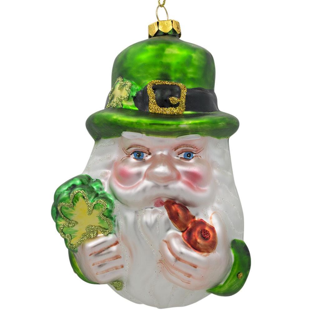 "5"" Irish Santa Leprechaun with the Clover Glass Christmas Ornament"