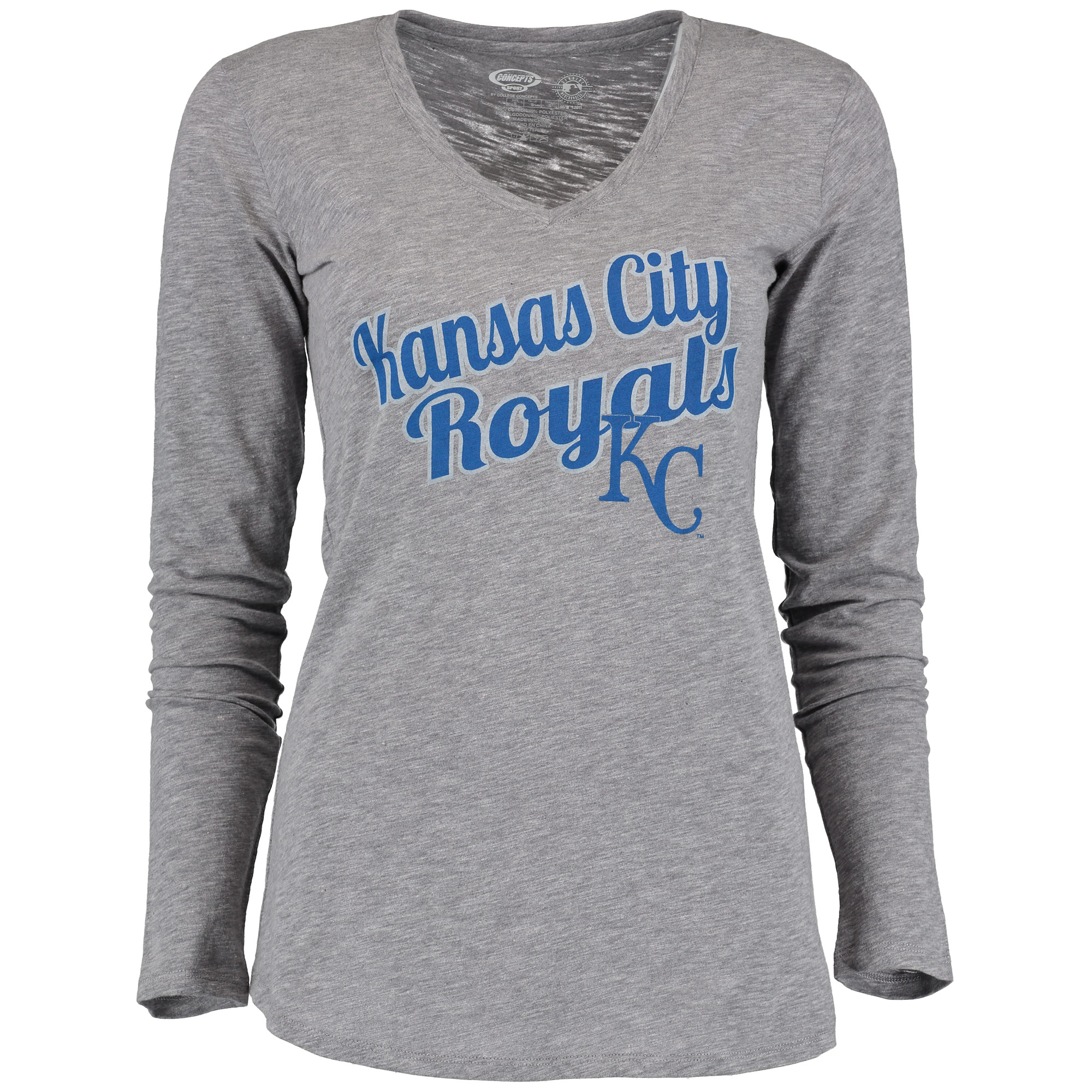 Kansas City Royals Concepts Sport Women's Cooperstown Collection At Once Long Sleeve T-Shirt - Gray