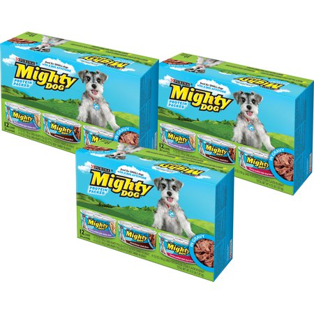 (3 Pack) Mighty Dog Chicken Dinner, Porterhouse Steak, & Hearty Pulled-Style Beef Dinner Wet Dog Food, 5.5 Oz, Case of 12