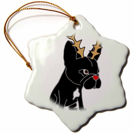 3dRose Funny Cute French Bulldog with Reindeer Antlers Christmas Art - Snowflake Ornament, 3-inch (Christmas Car Accessories Reindeer Antlers)