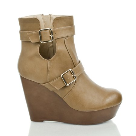 Osean3 by Kayleen, Round Toe Buckled Cut Out Platform High Wedge Heel Ankle Bootie](Booties Cut Out)