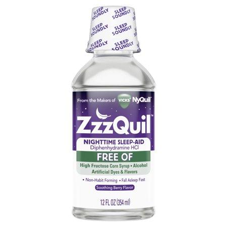 Vicks ZzzQuil Sleep Aid Liquid, Alcohol Free, Berry, 12 Fl
