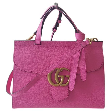 Gucci Marmont Pink Tropical Flower Bag Top Shoulder Box Leather Italy Gold New