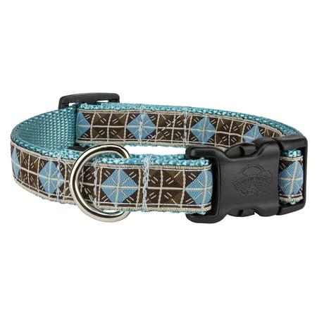 Country Brook Petz™ Deluxe Blue & Brown Diamond Woven Ribbon on Ocean Blue Dog Collar Limited Edition (Diamond Ocean Blue)