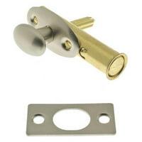 Solid Brass Mortise Door Bolt, Satin Nickel