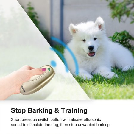 - Dog Bark Control- Petacc Handheld Ultrasonic Barking Stopper Dog Trainer with Anti-static Wrist Strap, Champaign Gold