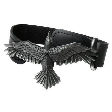 Pewter Slave Bracelet - Alchemy Raven Consort Wristband Odin Bird Spread Wing Leather Pewter Adjustable