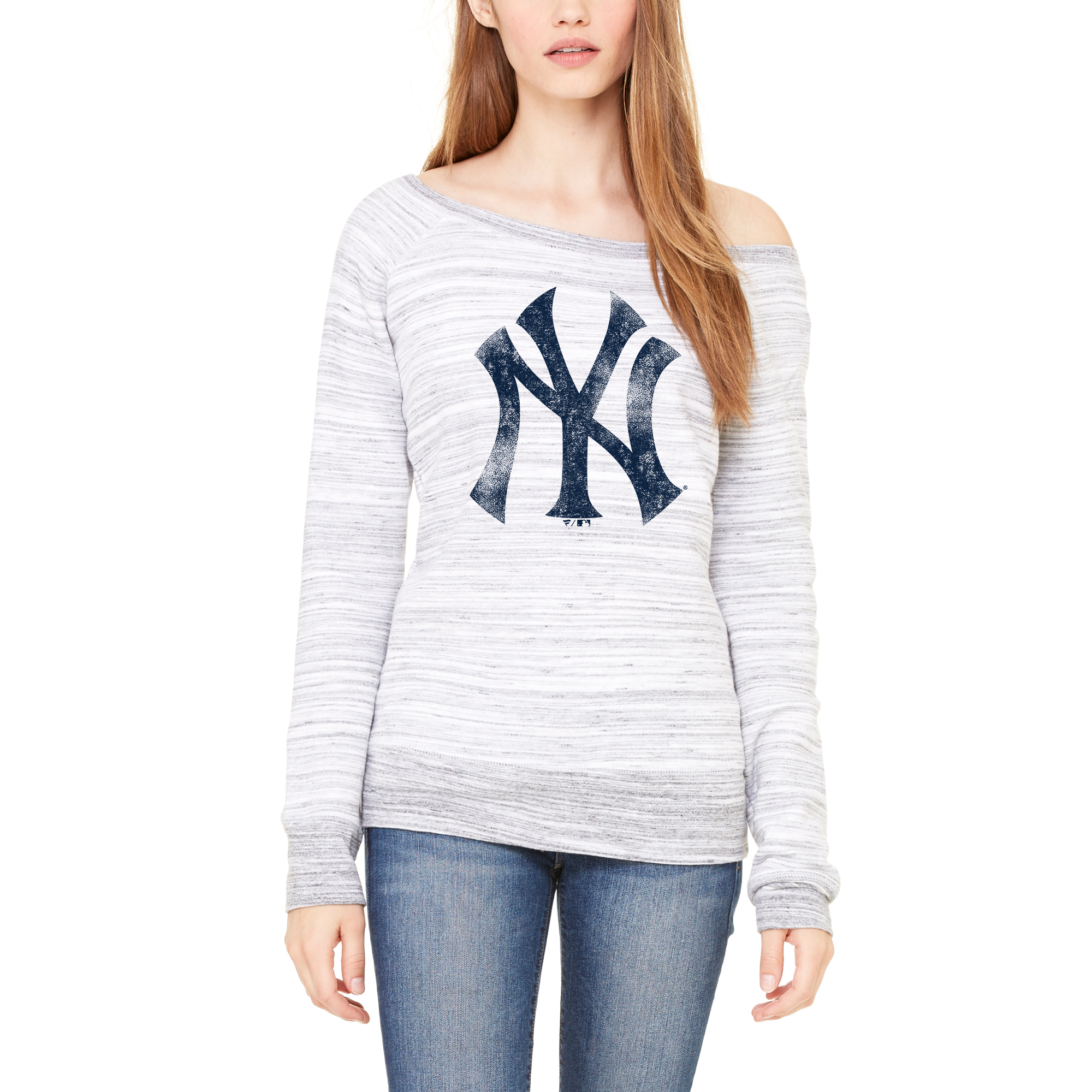 New York Yankees Let Loose by RNL Women's Game Day Wide Neck Sweatshirt - Light Gray Marble