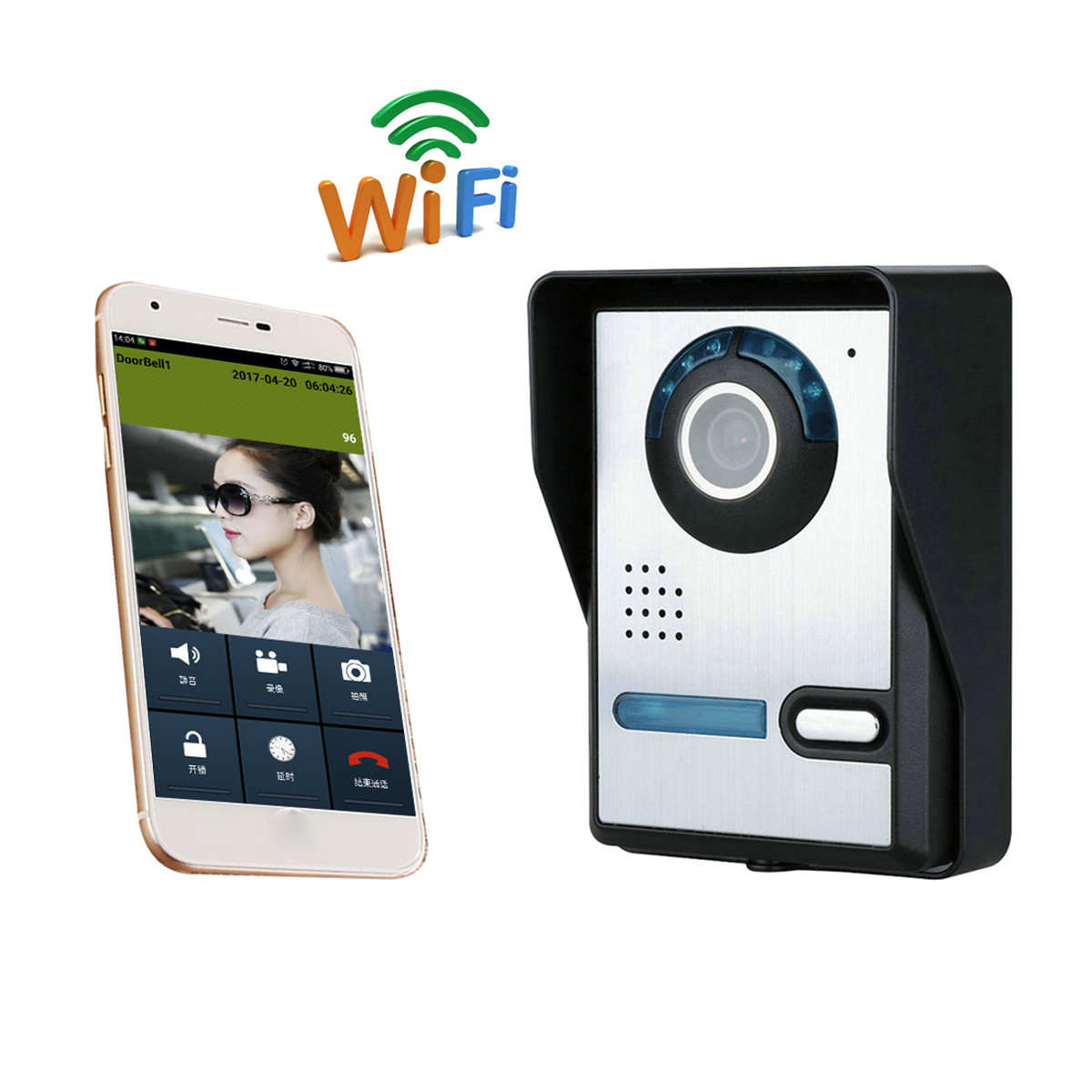 Wireless Alarm Waterproof Wifi DoorBell Camera Viewer NightVision Phone  Ring Bell 1/4inch CMOS Viewer Night Vision Phone Ring