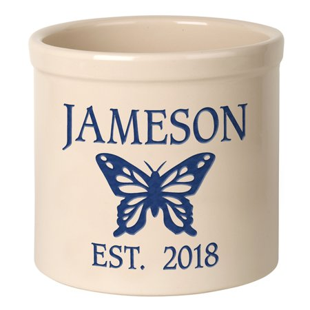 Personalized Butterfly 2 Gallon Stoneware Crock